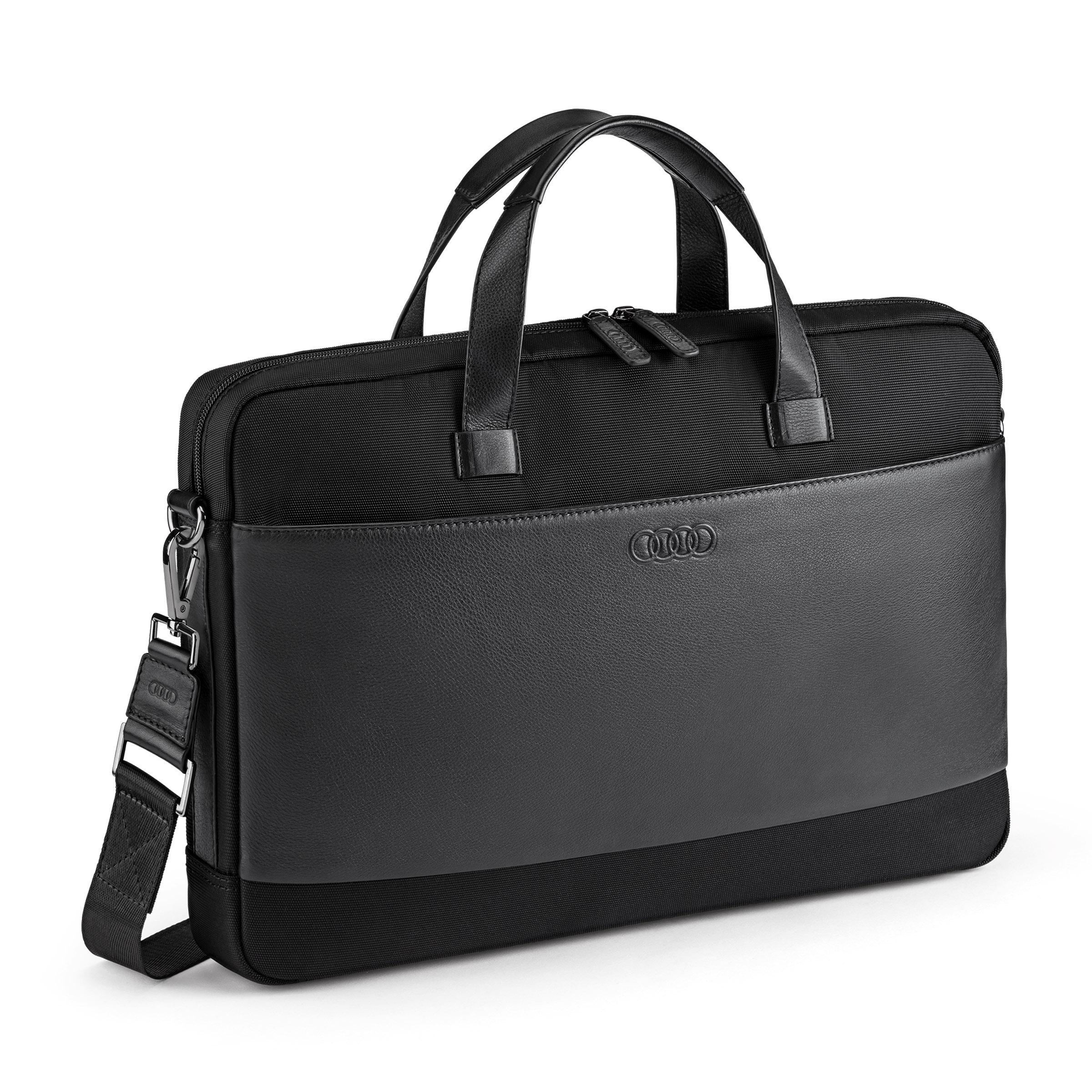 Audi Businesstasche schwarz Leder-Nylon