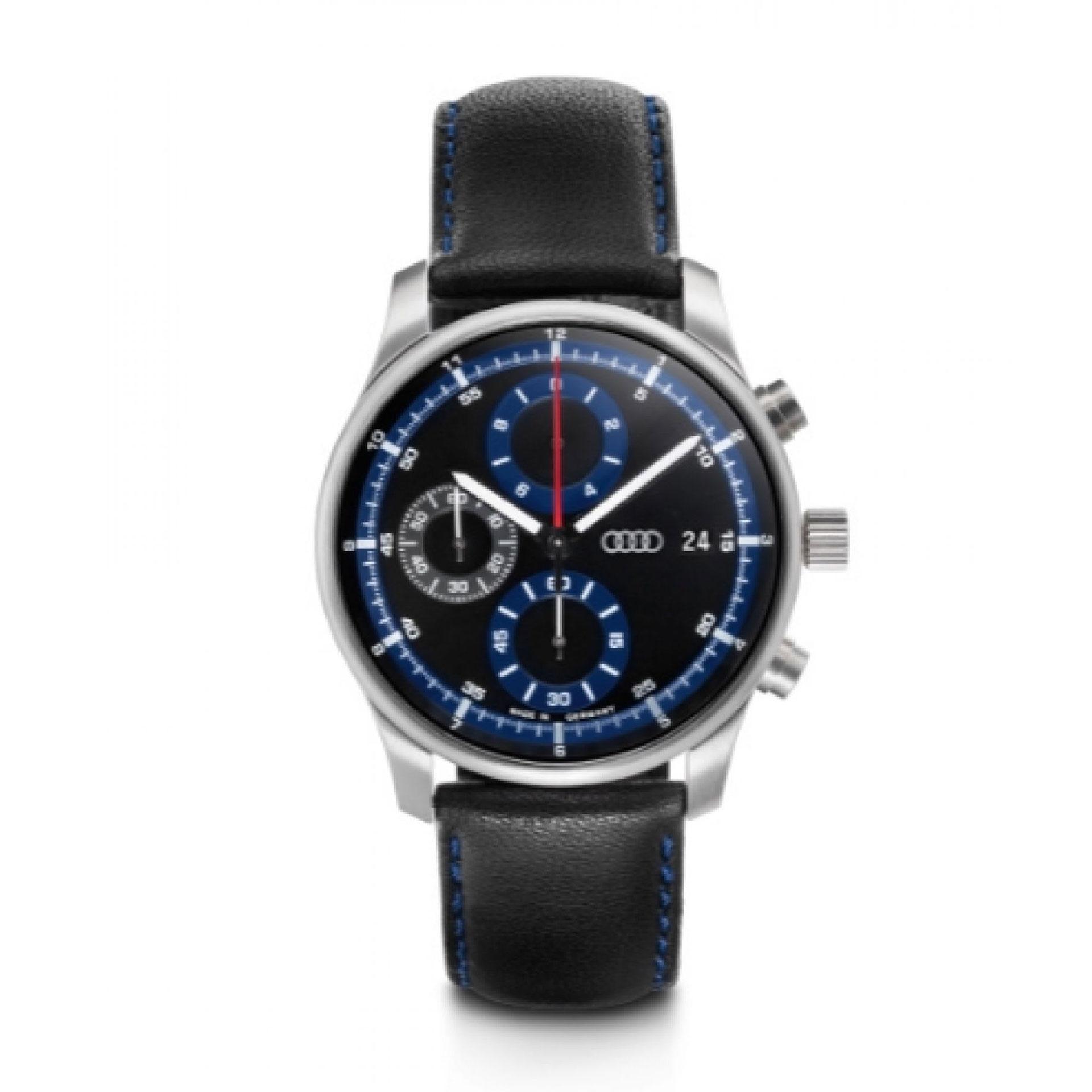 Audi Chronograph Armbanduhr blau/schwarz Herren