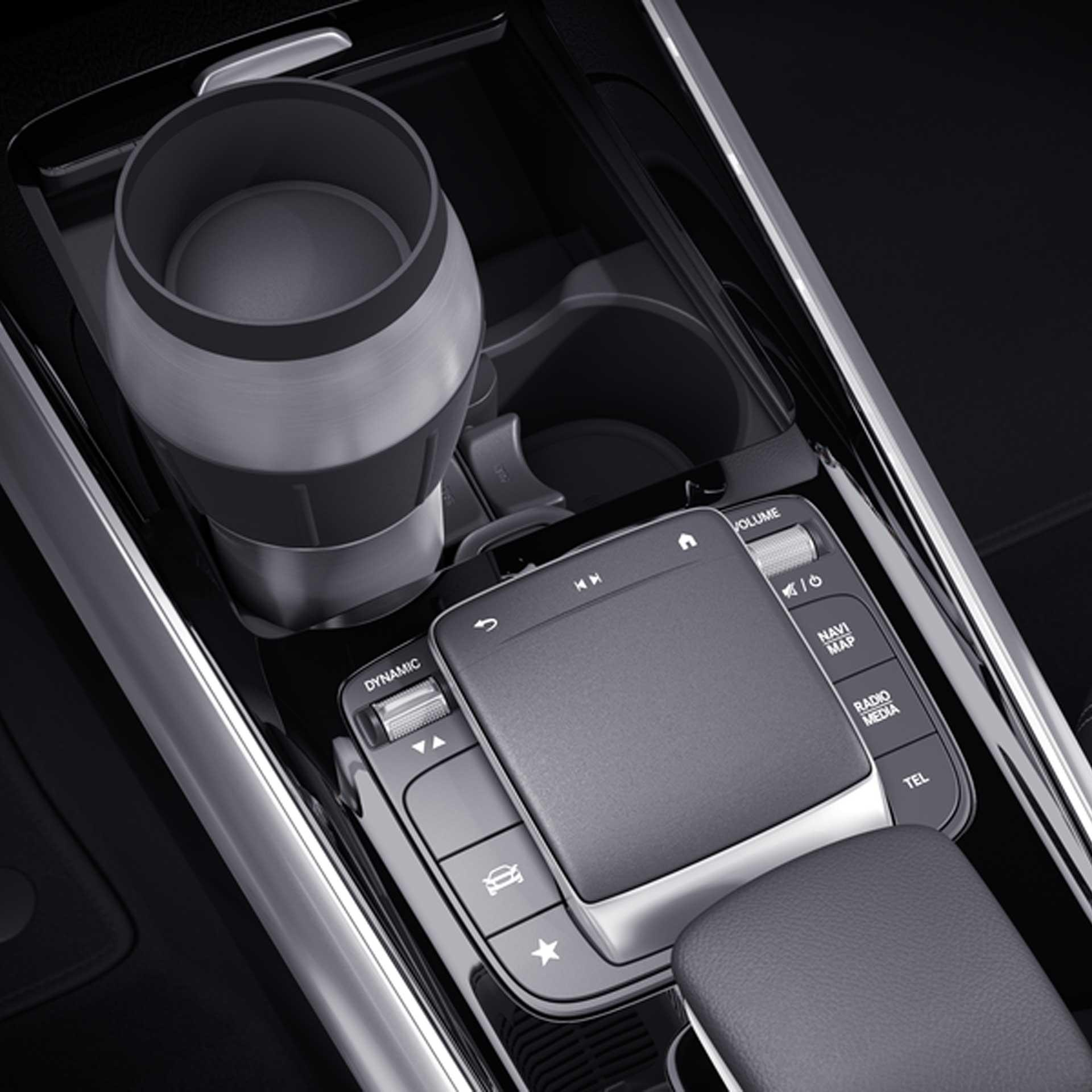 Mercedes-Benz Getränkehalter Mittelkonsole für Fahrzeuge mit DCT-Getriebe und Ablagefach mit Rollo