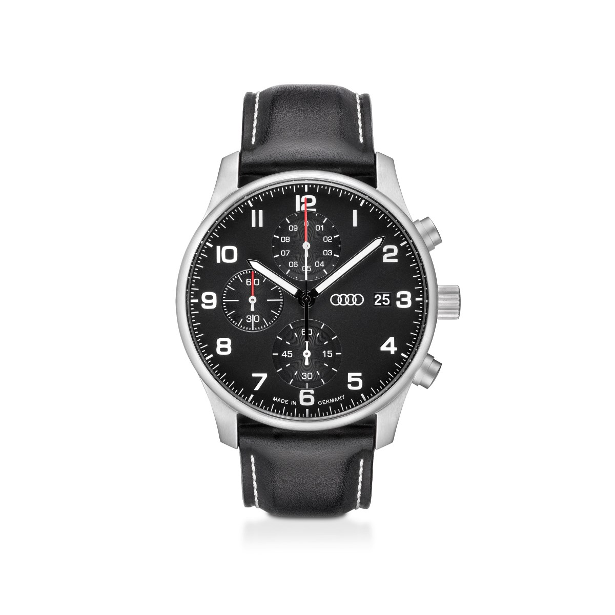 Audi Chronograph Armbanduhr Herren schwarz/silber