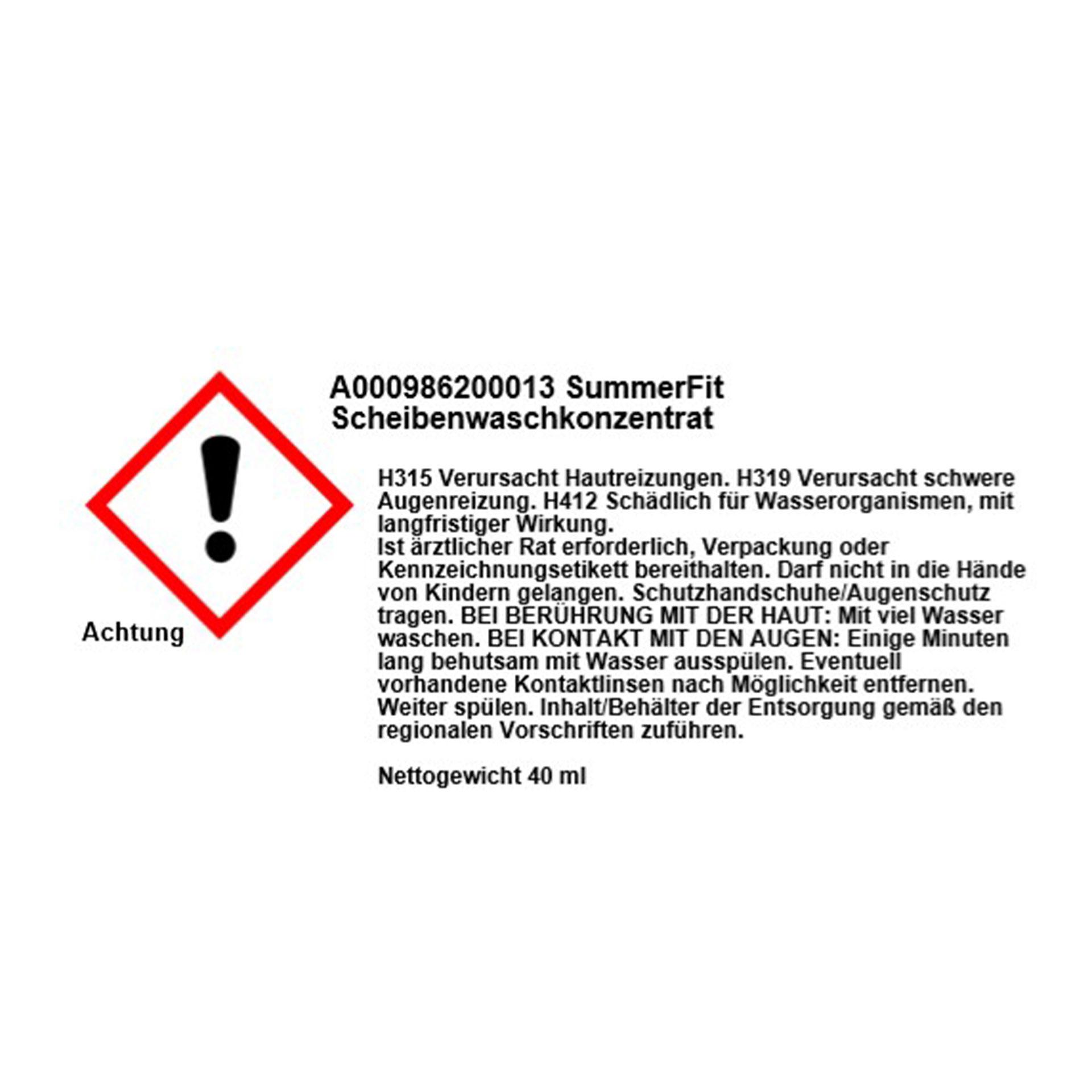 Mercedes-Benz Scheibenreiniger Konzentrat SummerFit 40 ml