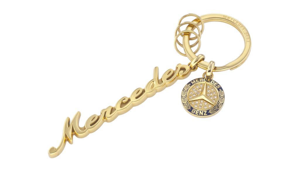 Mercedes-Benz Schlüsselanhänger Mercedes Classic Schriftzug gold Swarovski® Kristalle