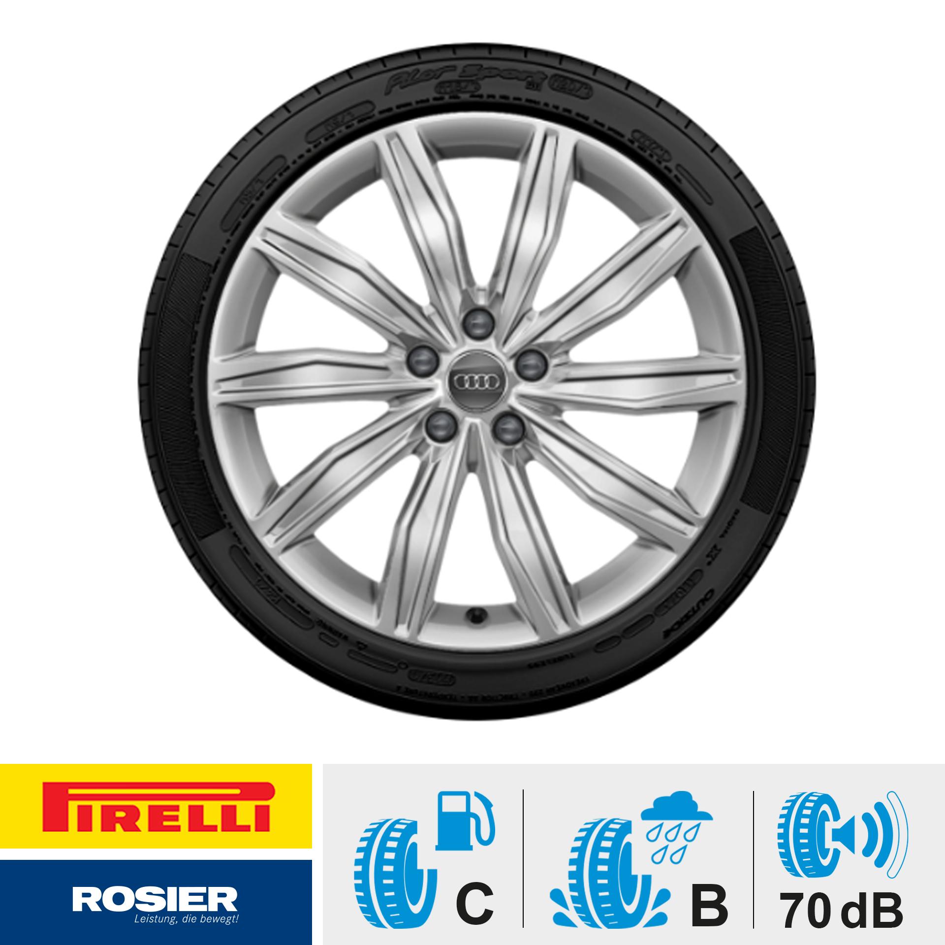 Winterkomplettrad - 10-Speichen-Design silber 245/45 R19 102V Pirelli Sottozero 3 AO für Audi A6