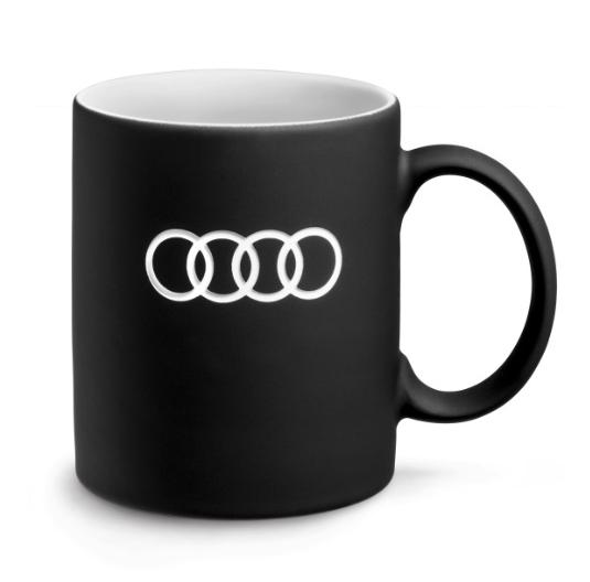 "Audi Becher ""Ringe"" Kaffeebecher Teetasse Tasse - schwarz"