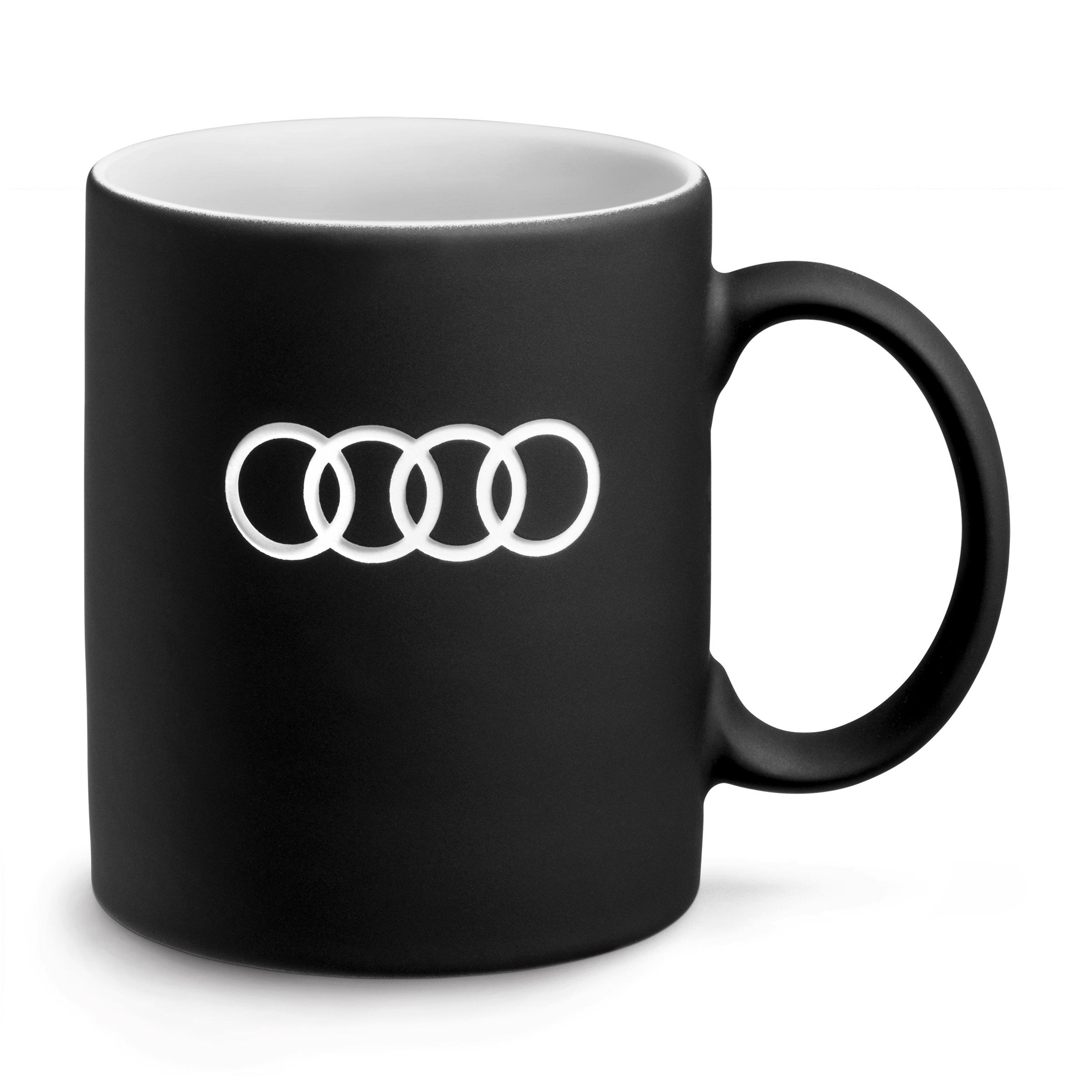 Audi Becher Ringe Kaffeebecher Teetasse Tasse schwarz
