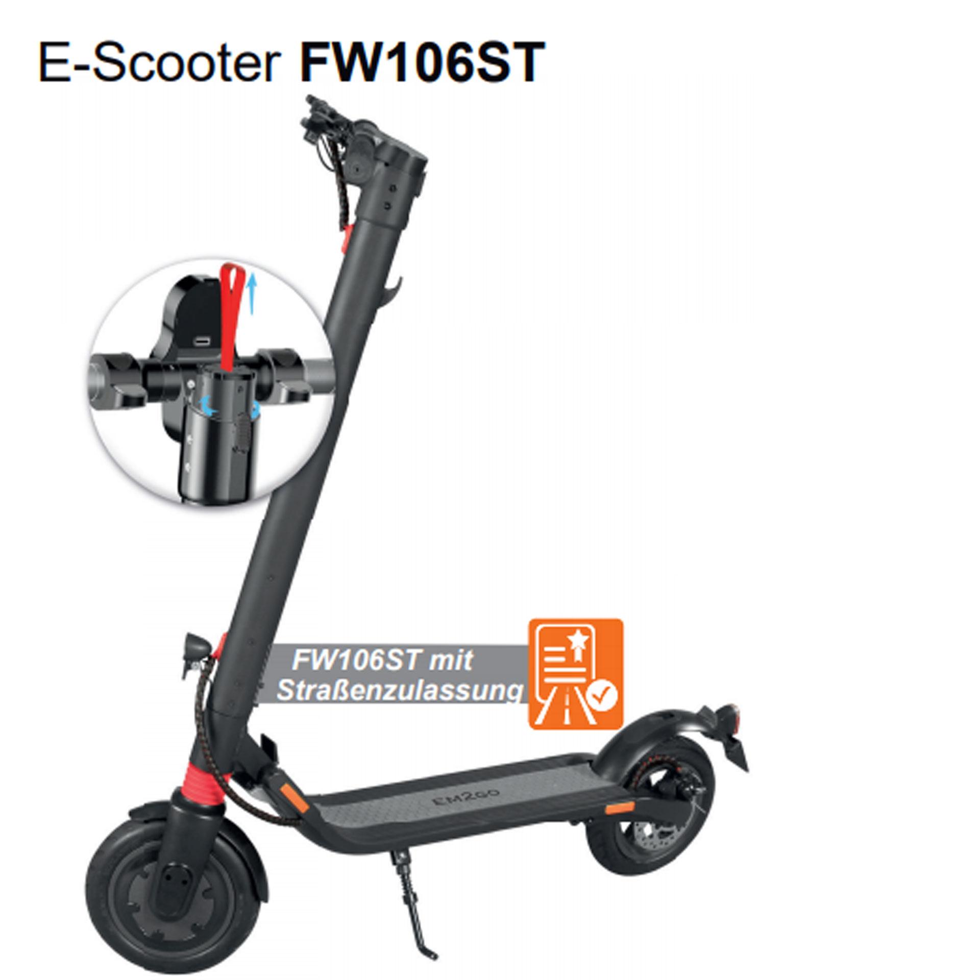 EM2GO E-Scooter FW106ST - 5.2 Ah - Straßenzulassung