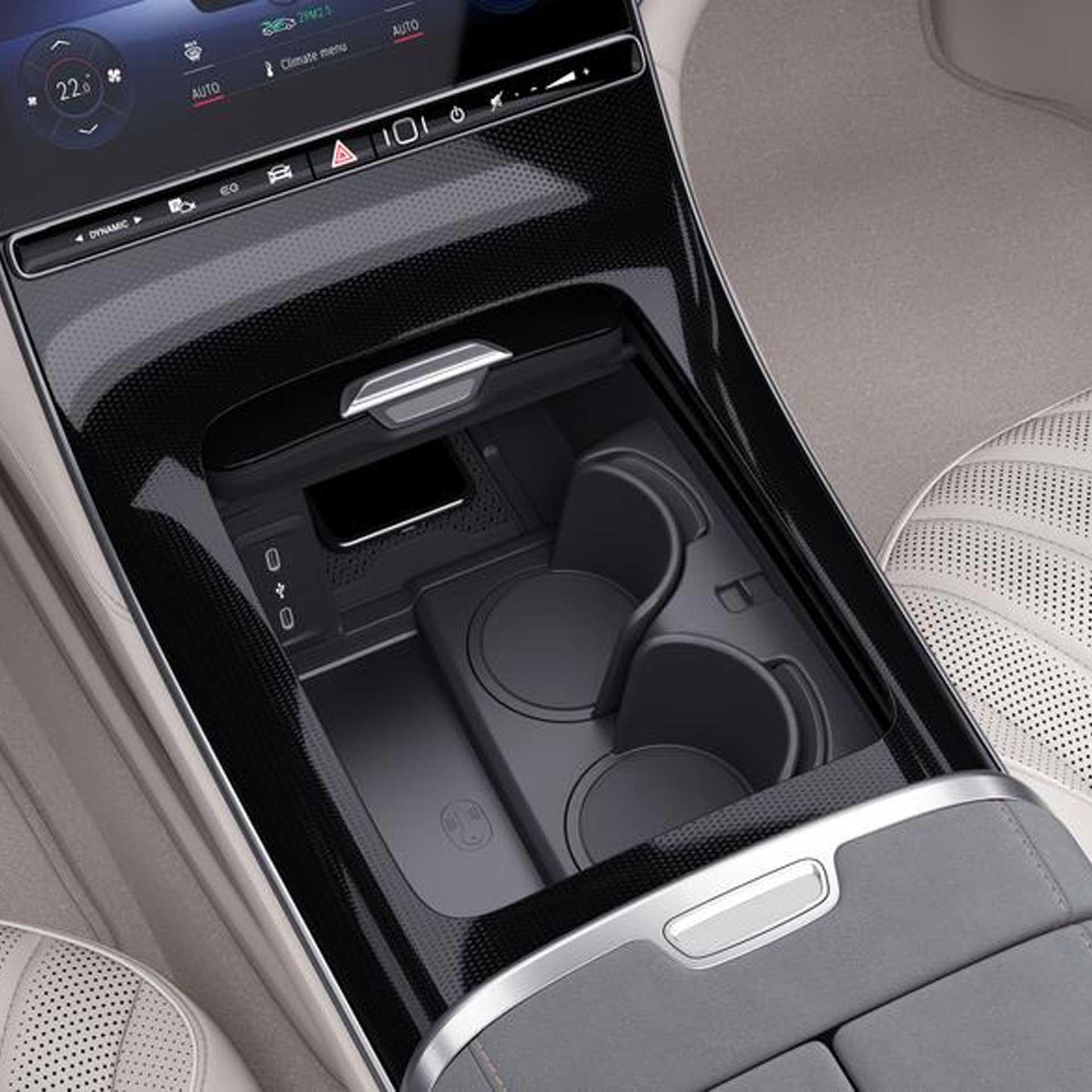 Mercedes-Benz EQS Getränkehalter Mittelkonsole schwarz
