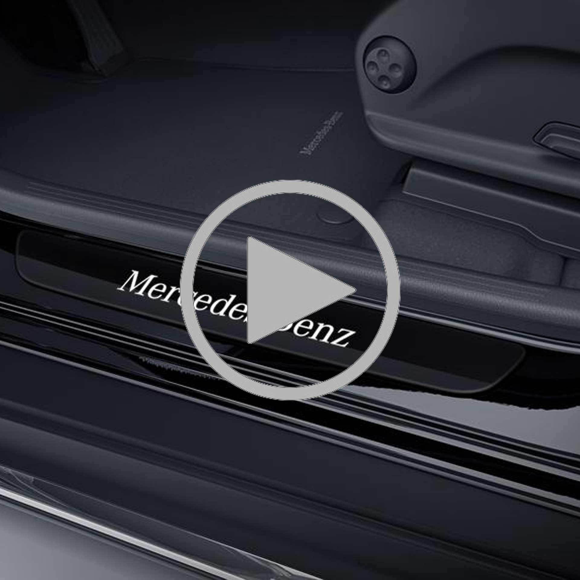 Mercedes-Benz Wechselcover für Einstiegsleisten beleuchtet vorne 2-teilig schwarz/weiß