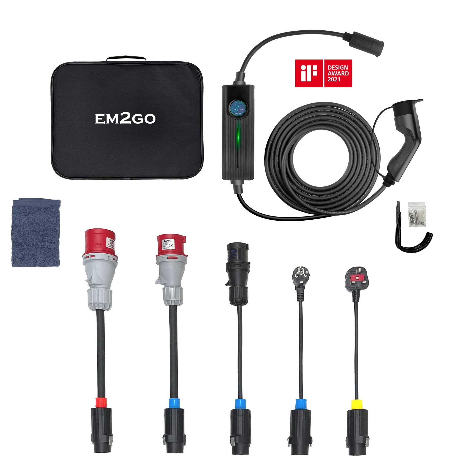 EM2GO mobiles Ladesystem für E-Fahrzeuge inkl. 5 Adapter