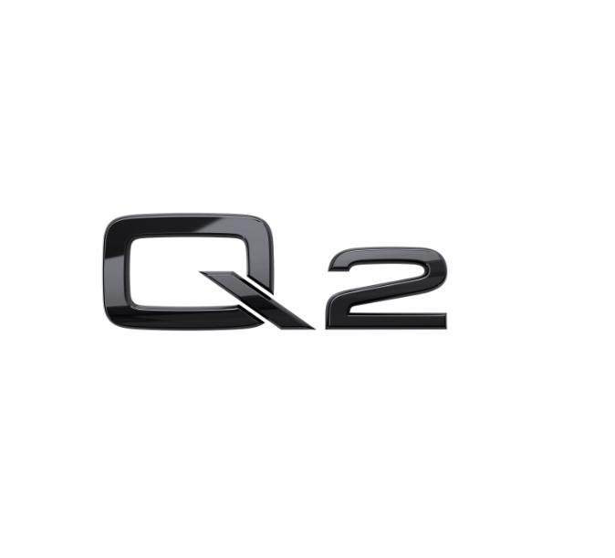 Audi Modellbezeichnung in Schwarz Heck Q2