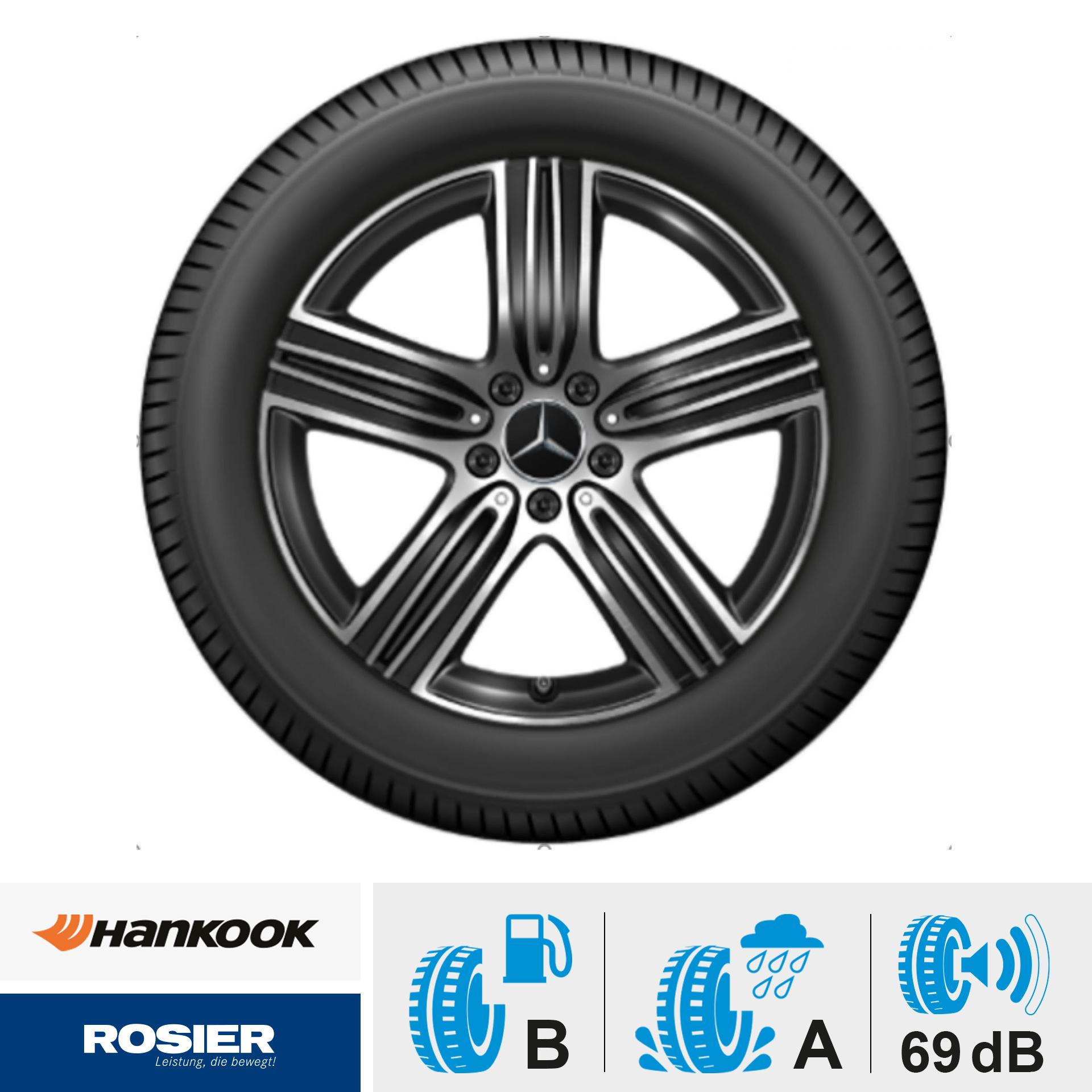 Sommerkomplettrad 5-Speichen-Rad schwarz glanzgedreht Michelin Primacy 4 MO 235/55 R18 100W / Mercedes-Benz  GLA/GLB Felgen
