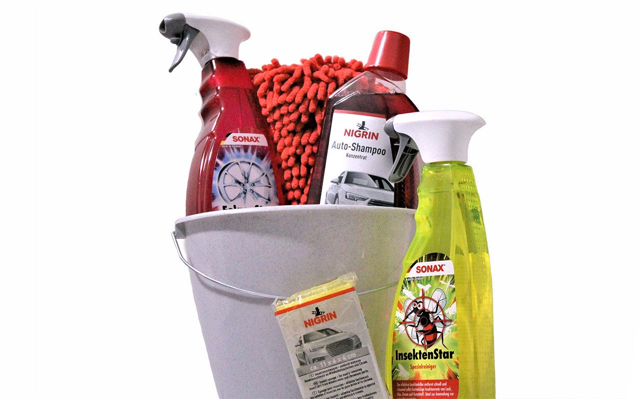 Pflegeset Fahrzeugreinigungsset Sonax und Nigrin inklusive Wascheimer