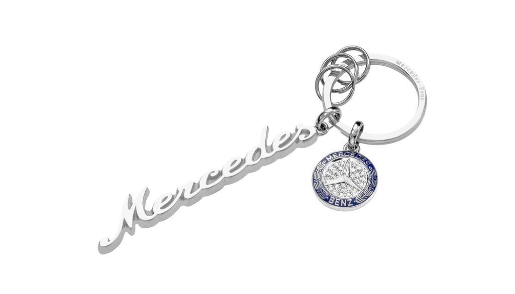 Mercedes-Benz Schlüsselanhänger Mercedes Classic Schriftzug silber Swarovski® Kristalle