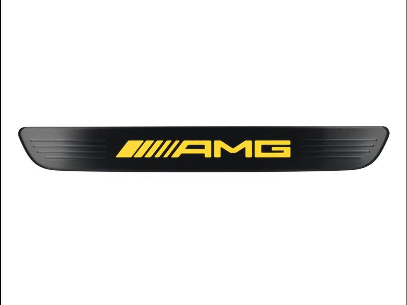 Mercedes-AMG Einstiegsleisten beleuchtet vorne Wechselcover einteilig schwarz/gelb