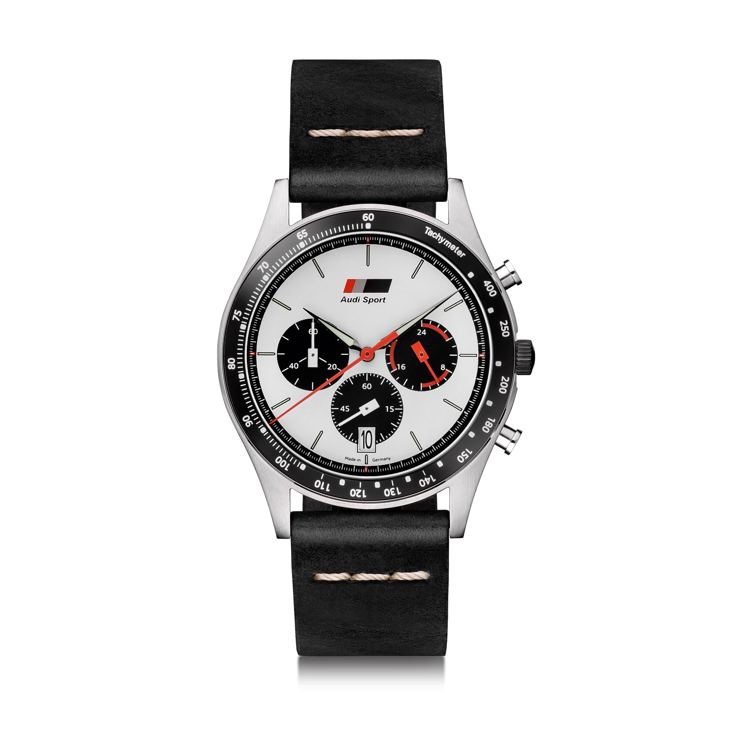 Audi Chronograph, Herren, schwarz/weiß