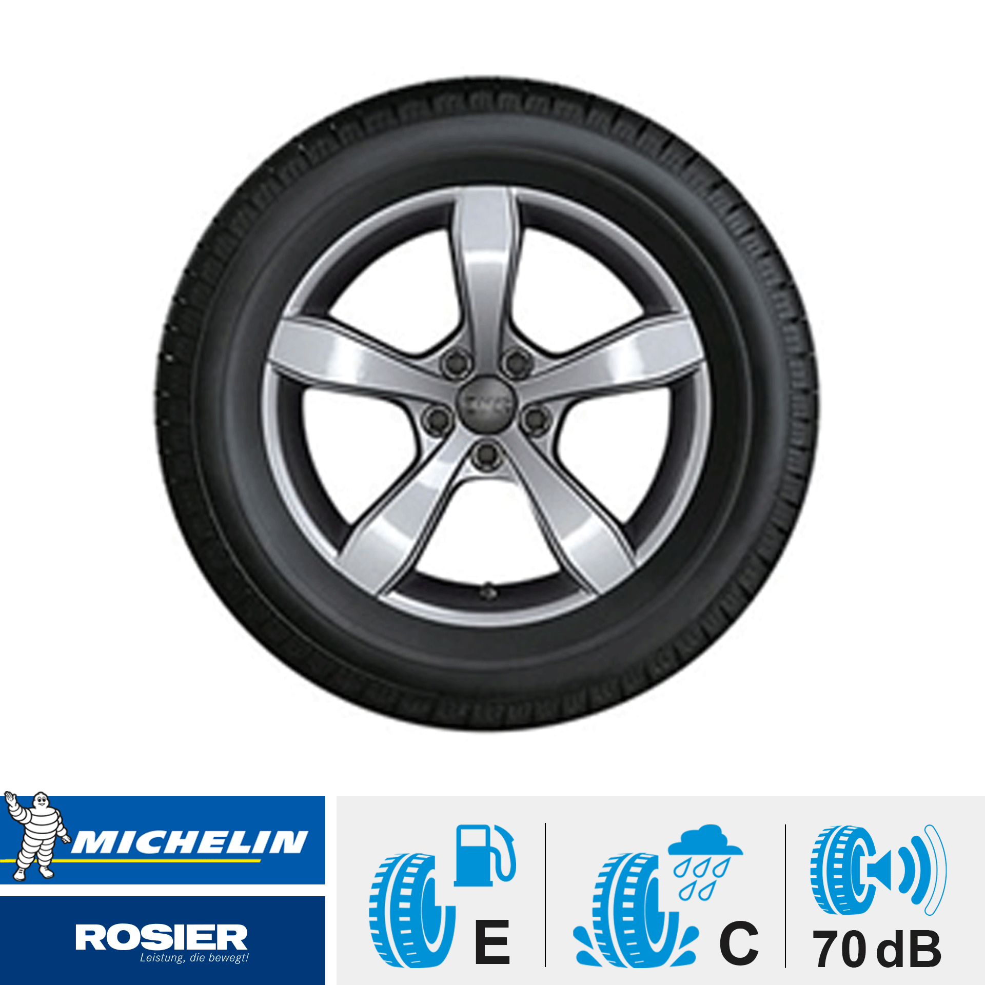 "Winterkomplettrad  im 5-Arm-Pin-Design ""billantsilber""  185/60 R15 88H XL Michelin Alpin A4 AO für Audi A1 DOT: 12/16"