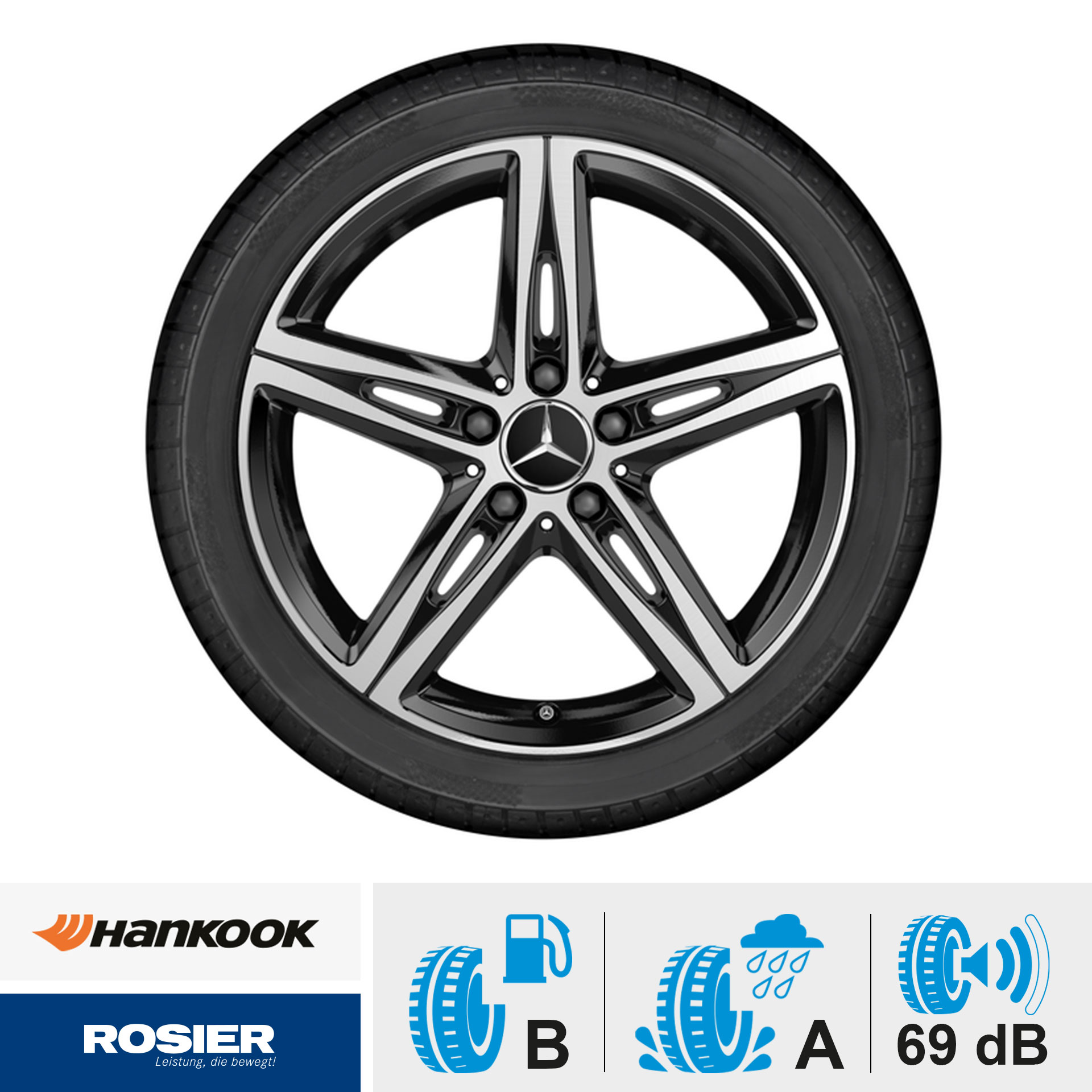 Sommerkomplettrad 5-Speichen-Rad schwarz glanzgedreht Hankook Ventus S1 evo2 MO 225/45 R18 91W / Mercedes-Benz A-Klasse / CLA & B-Klasse Felgen