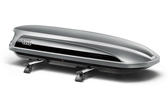 Audi Ski- und Gepäckbox platinumgrau mit brillantschwarzem Seitenblade 405 l