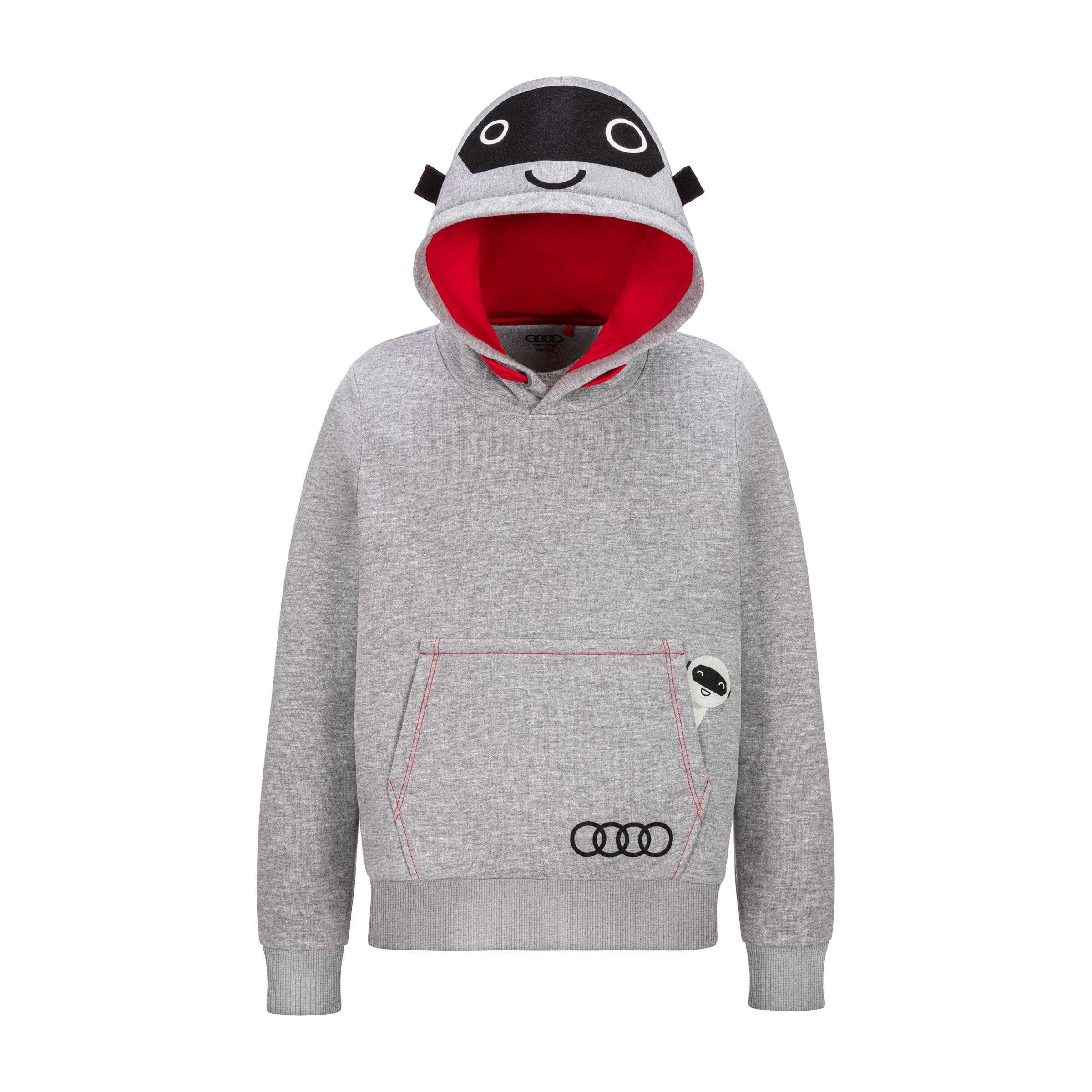 Audi Kinder Hoodie ADUI grau Größe 110/116 melange Pullover