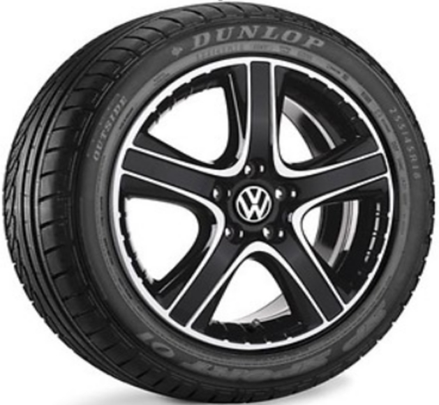 Sommerkomplettrad Dakar, Schwarz/Glanzgedreht Dunlop SP Sport 01 mit 255/45 R18 103Y / VW T6 Multivan Felgen