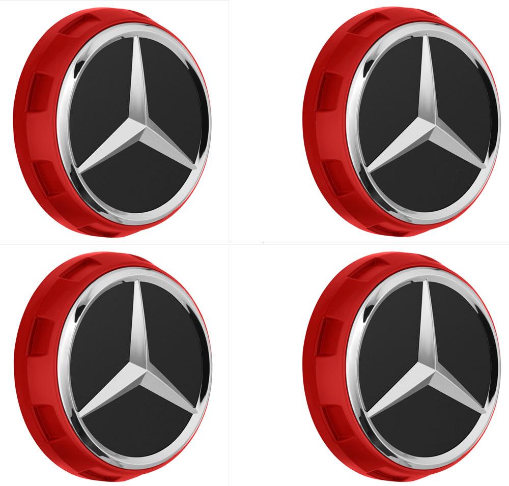 Mercedes-AMG Radnabenabdeckung Zentralverschlussdesign rot Set 4-teilig