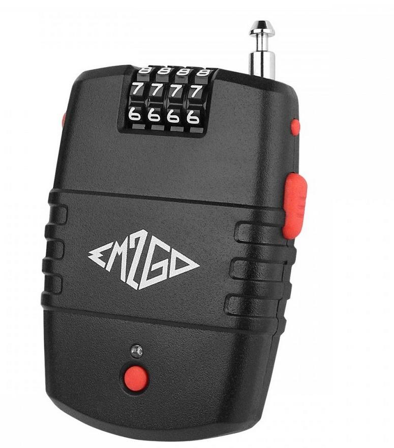 EM2GO 4 Stelliges Kombinations - Kabelschloss mit Alarm bis zu 10.000 Kombinationen - 90dB Sirene - schwarz