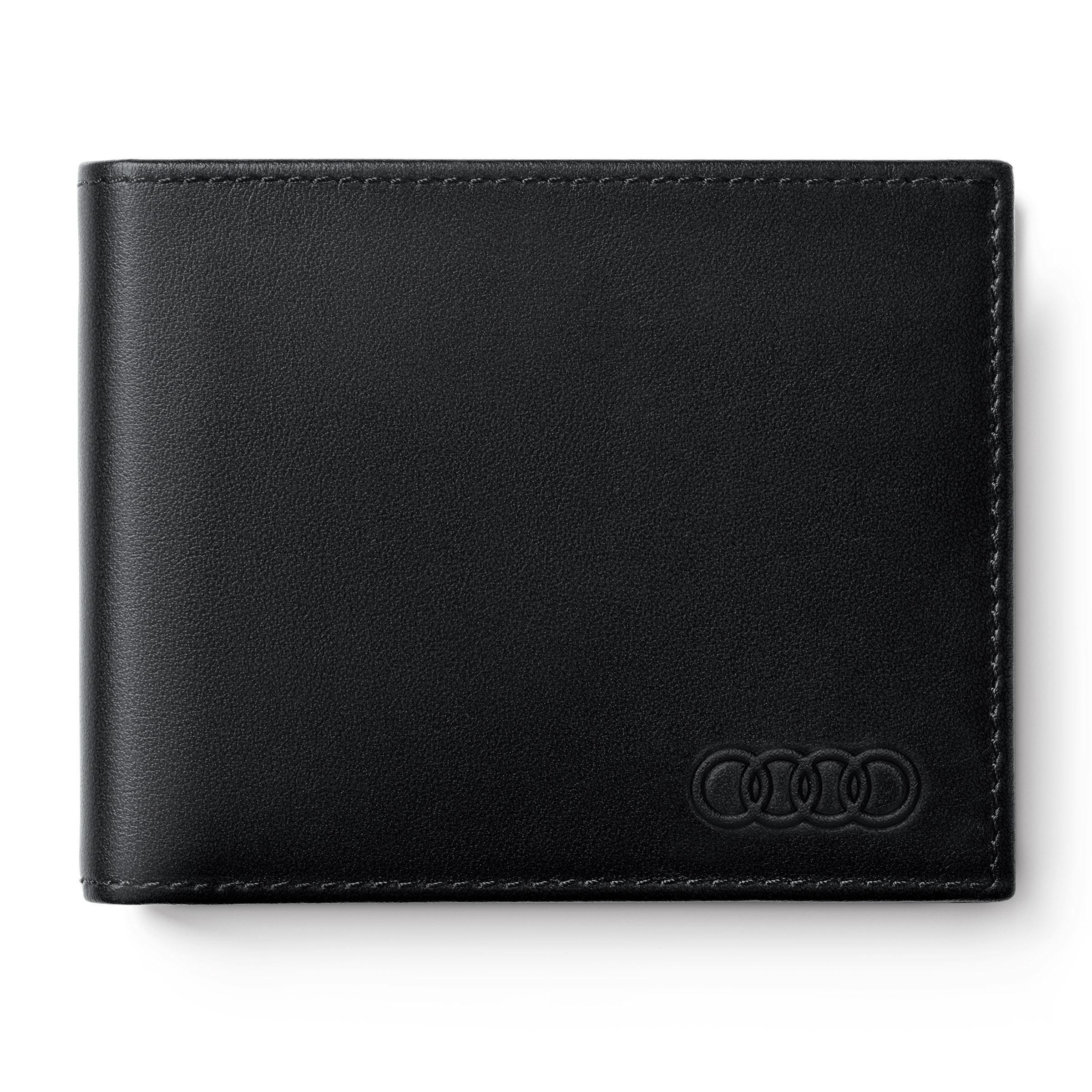 Audi Minigeldbörse Leder Herren schwarz Geldbeutel