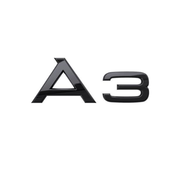 Audi Modellbezeichnung in Schwarz Heck A3