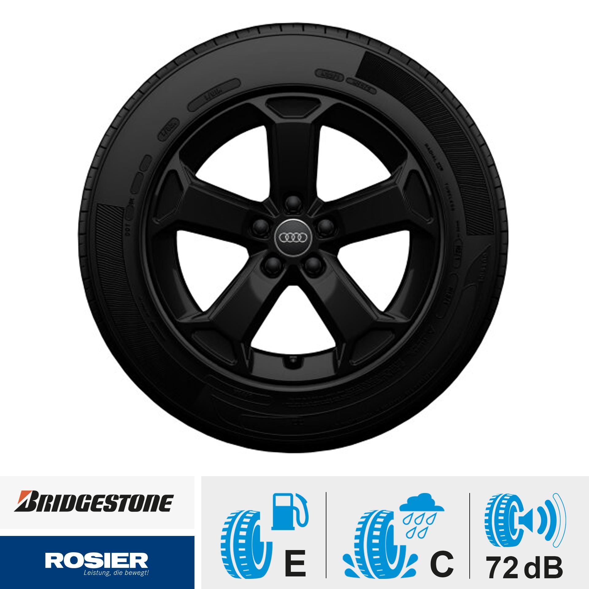 Winterkomplettrad - 5-Arm-Design schwarz 215/55 R17 94V Bridgestone Blizzak LM001 AO für Audi Q2