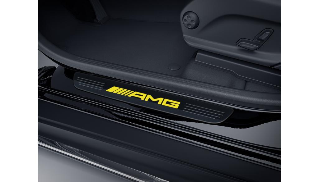 Mercedes-Benz Wechselcover für beleuchtete Einstiegsleisten vorne 2-teilig schwarz/gelb