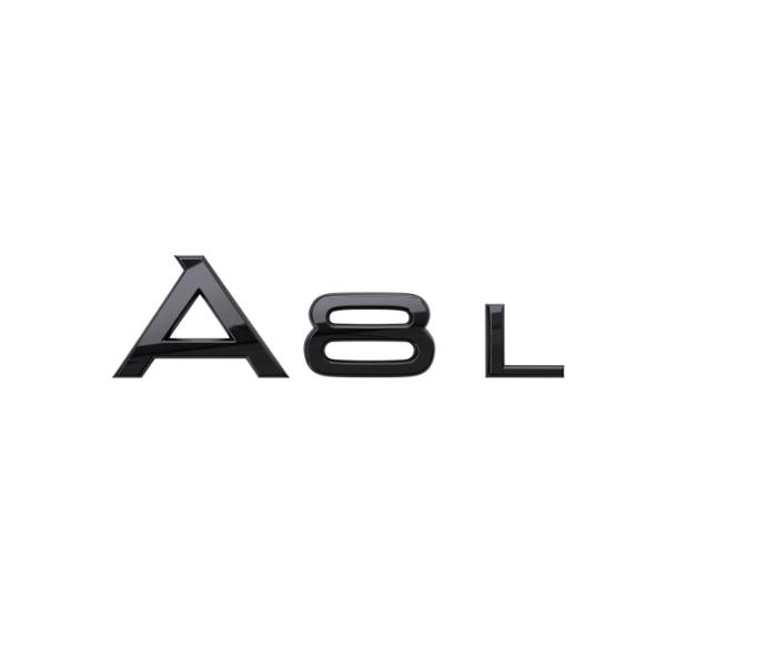 Audi Modellbezeichnung in Schwarz Heck A8