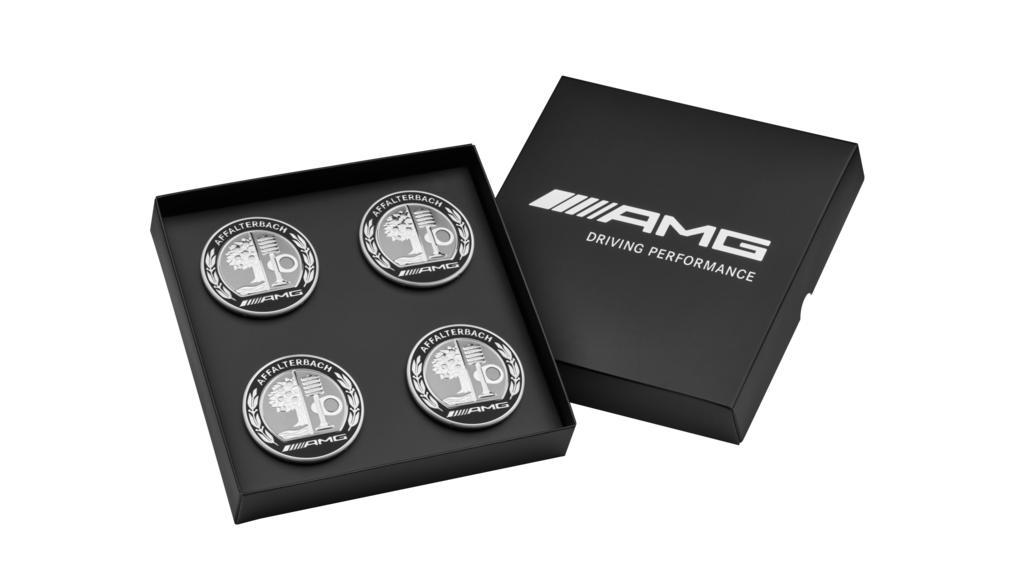 AMG Radnabendeckel mit AMG Wappen silber / schwarz Radnabenabdeckung
