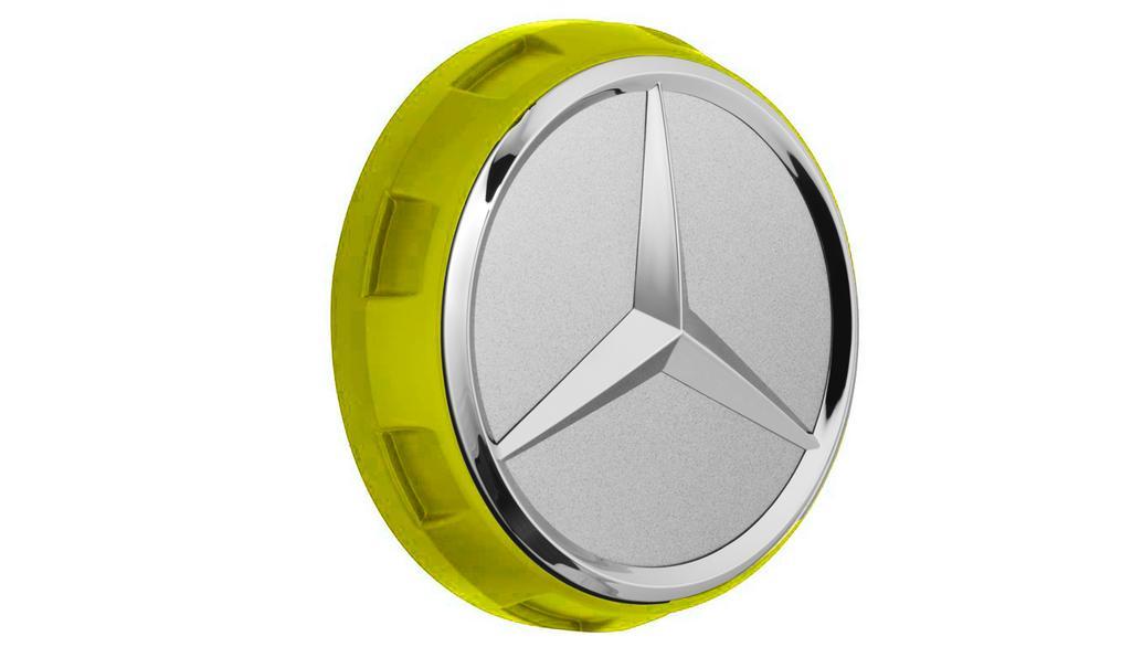 Mercedes-AMG Radnabenabdeckung Zentralverschlussdesign gelb