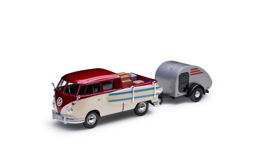Volkswagen Modellauto T1 Pickup Wohnanhänger 1:24