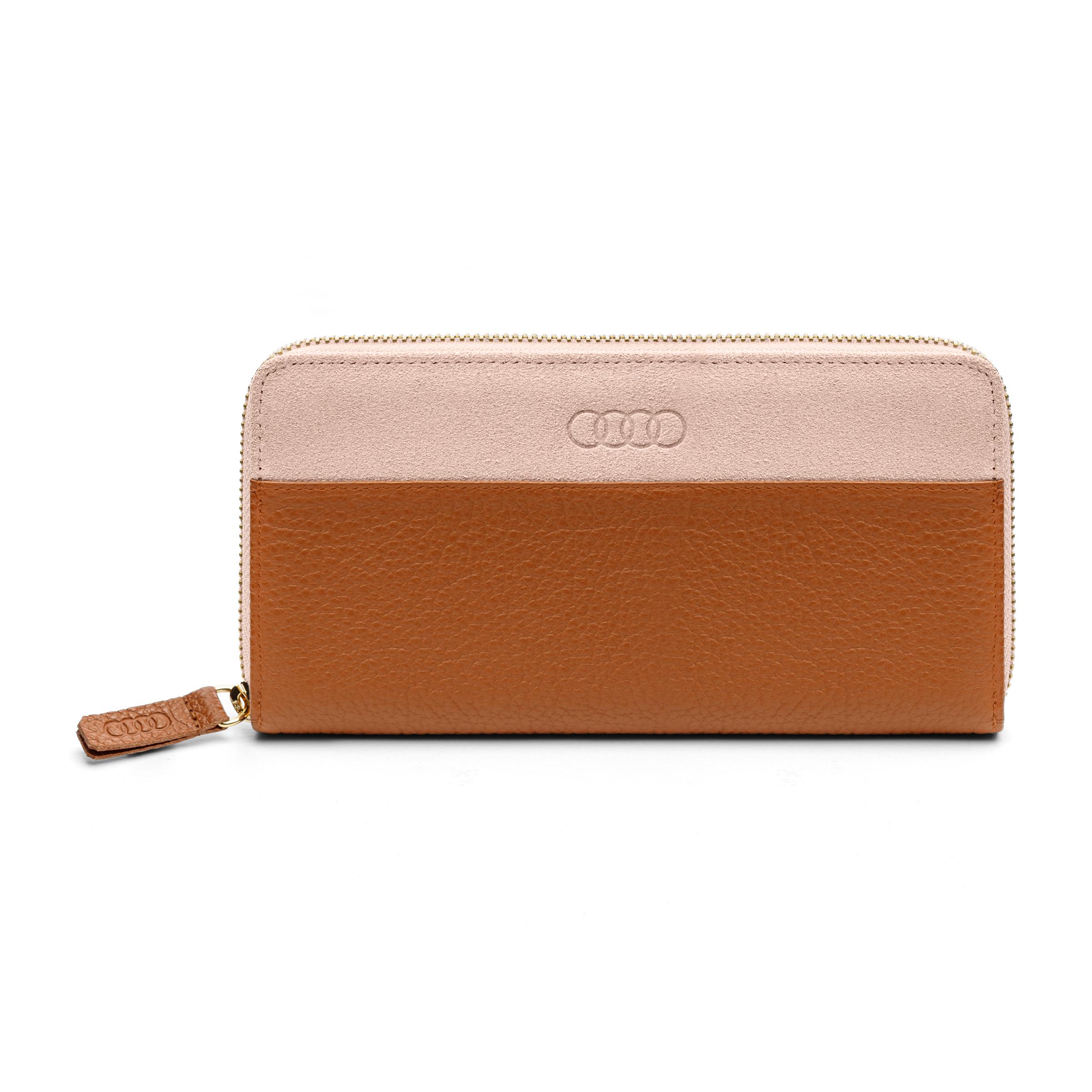 Audi Geldbörse Leder für Damen braun-rosé