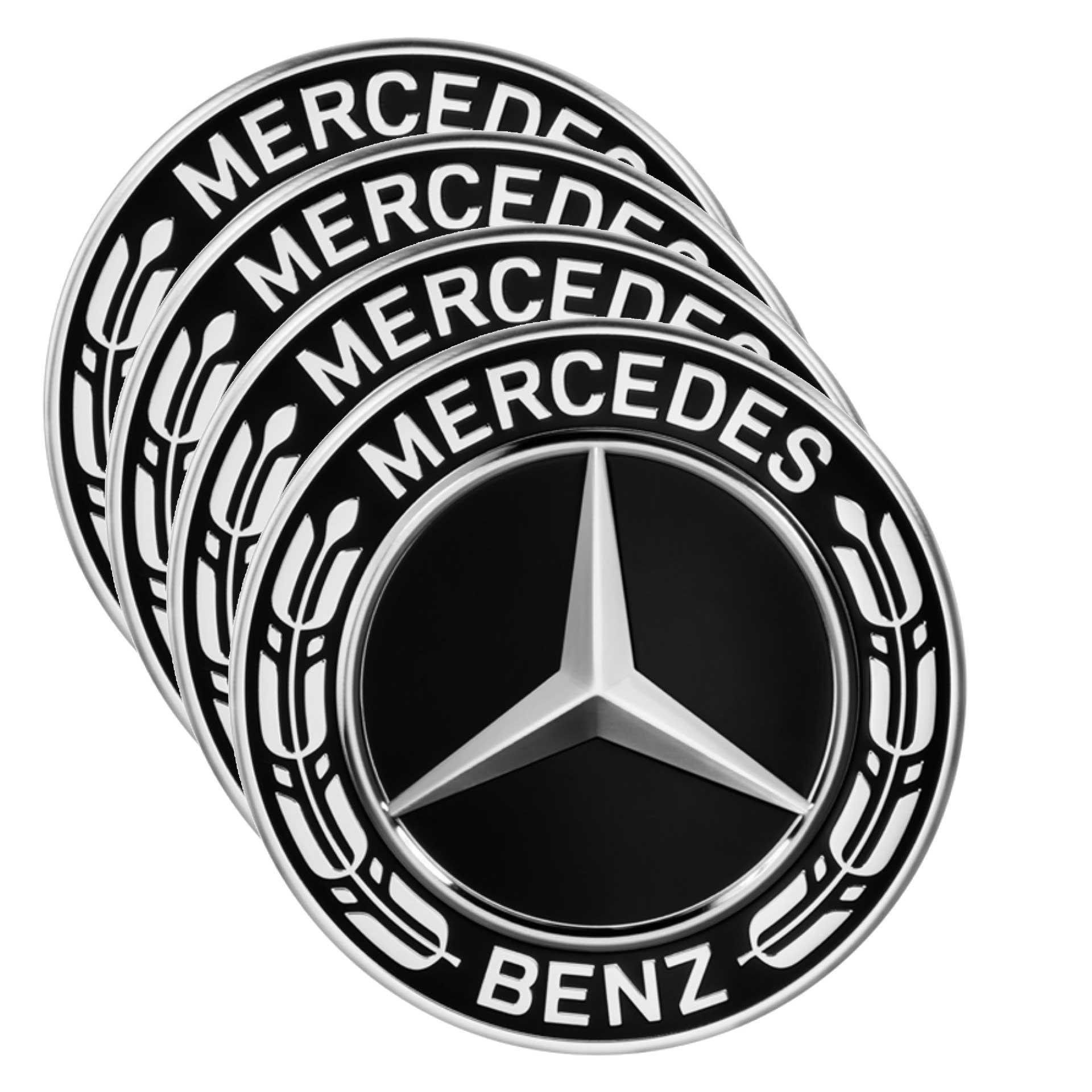 Mercedes-Benz Radnabenabdeckung Stern mit Lorbeerkranz schwarz Set 4-teilig