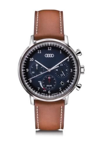 Audi Chronograph Solar, blau/braun