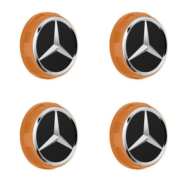 Mercedes-AMG Radnabenabdeckung Zentralverschlussdesign orange Set 4-teilig