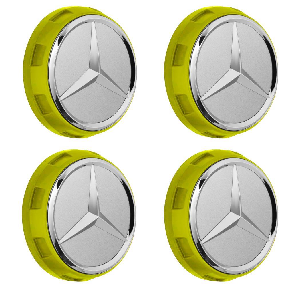 Mercedes-AMG Radnabenabdeckung Zentralverschlussdesign gelb Set 4-teilig