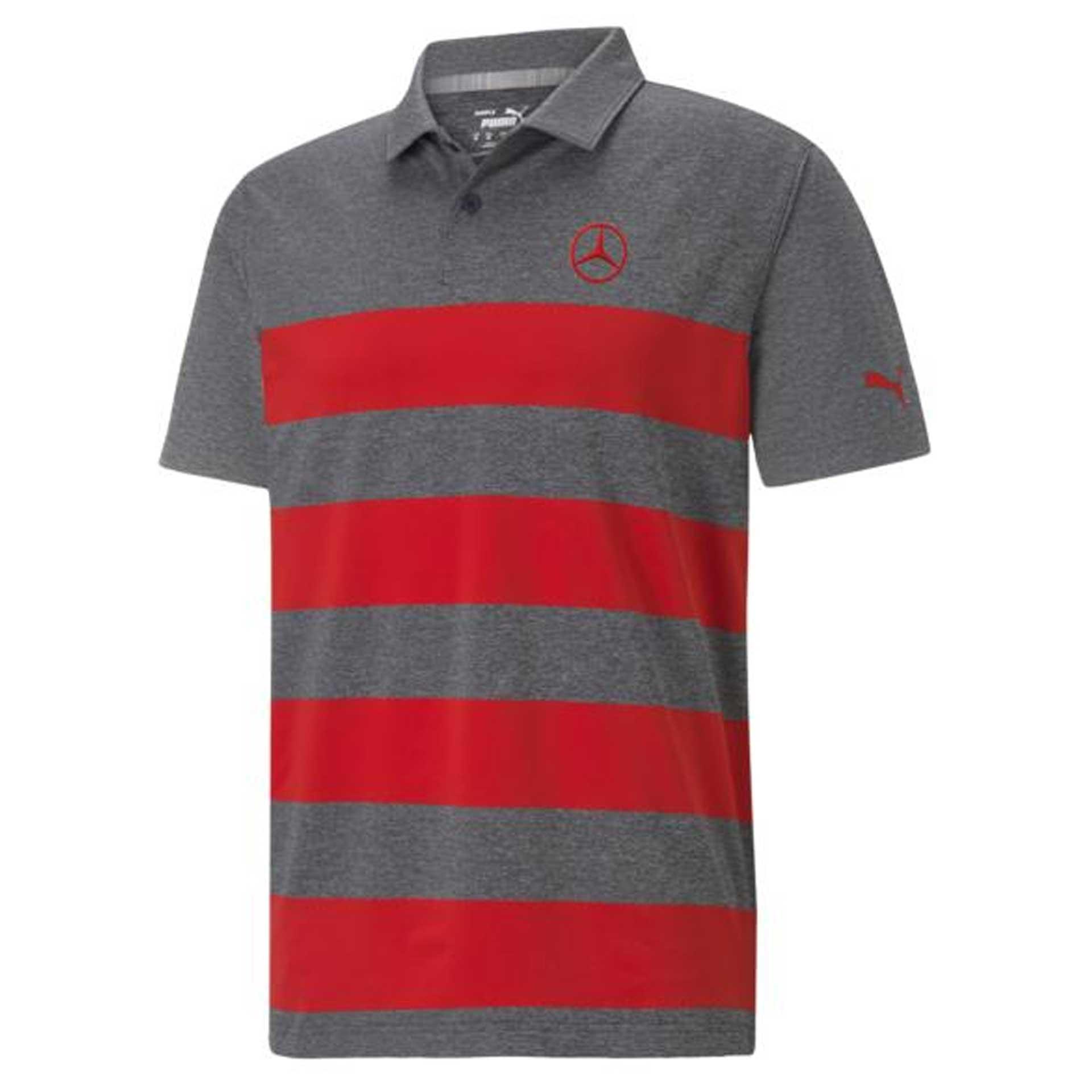 Mercedes-Benz Golf-Poloshirt Größe XL Herren grau melange / rot by PUMA Poloshirt